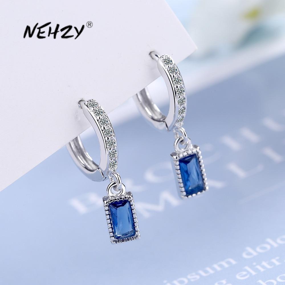NEHZY 925 en argent Sterling nouvelle femme bijoux de mode de haute qualité Simple bleu cristal Zircon mi-longueur gland boucles doreilles