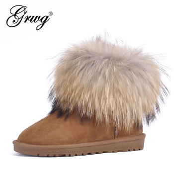Free shipping! High quality!Natural Wool Snow Boots Genuine Leather Women Boots Real Fox Fur winter warm ankle boots 5 colors