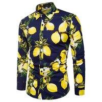 Men's Shirts fashion Long sleeve Casual lemon Print pattern Male shirt Slim Style tops Shirt social masculina fitness clothing