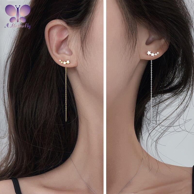 925 Sterling Silver Five-pointed Star Ear Line Chain Earrings Tassel Earring Ear Line Birthday Gift