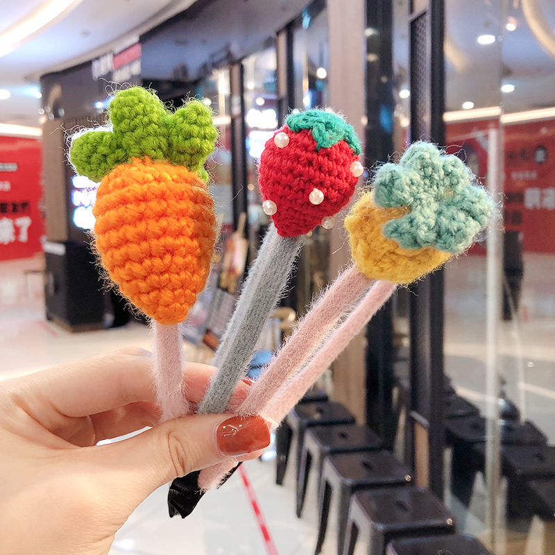 Children Cute Candy Knitting Nylon Cartoon Fresh Fruit Vegetable Harbands Girls Sweet Faux Fur Headbands Kids Hair Accessories