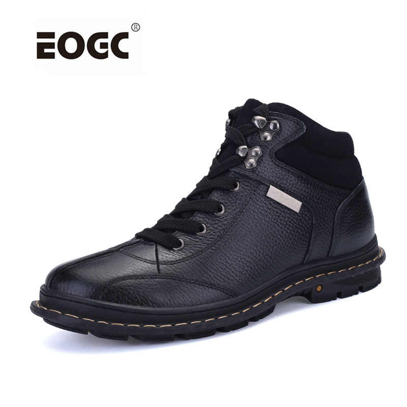 Full grain leather Men Boots Plus Size Fashion Style Winter Boots Handmade Shoes Men Top Quality Outdoor Snow Boots Dropshipping