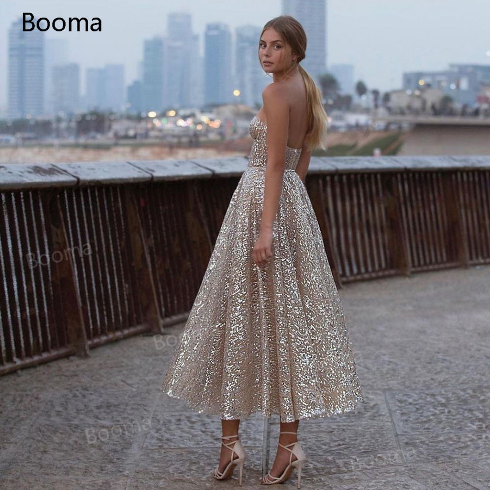 Booma Glitter Sequin Lace Prom Dresses Sweetheart A Line Short Prom Gowns Open Back Sleeveless Tea Length Formal Party Gowns