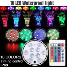 цены LED light RGB LED Underwater Light Remote control  IP68 Waterproof Swimming Pool Light Battery Operated for Wedding Party  D30