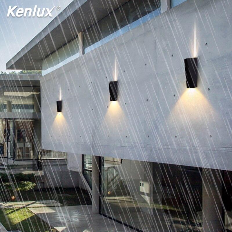 Kenlux 6W Led Wall Lamp Aluminum Outdoor Indoor Ip65 White Black Modern Light For Villa Background  Garden Yard Stairway Light