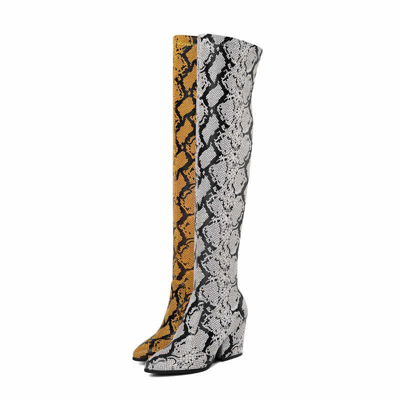 ASUMER 2020 yeni diz çizmeler üzerinde kadın sivri burun kayma bayanlar balo uzun çizmeler yüksek topuklu ayakkabılar kadın çizmeler büyük boy 34-43