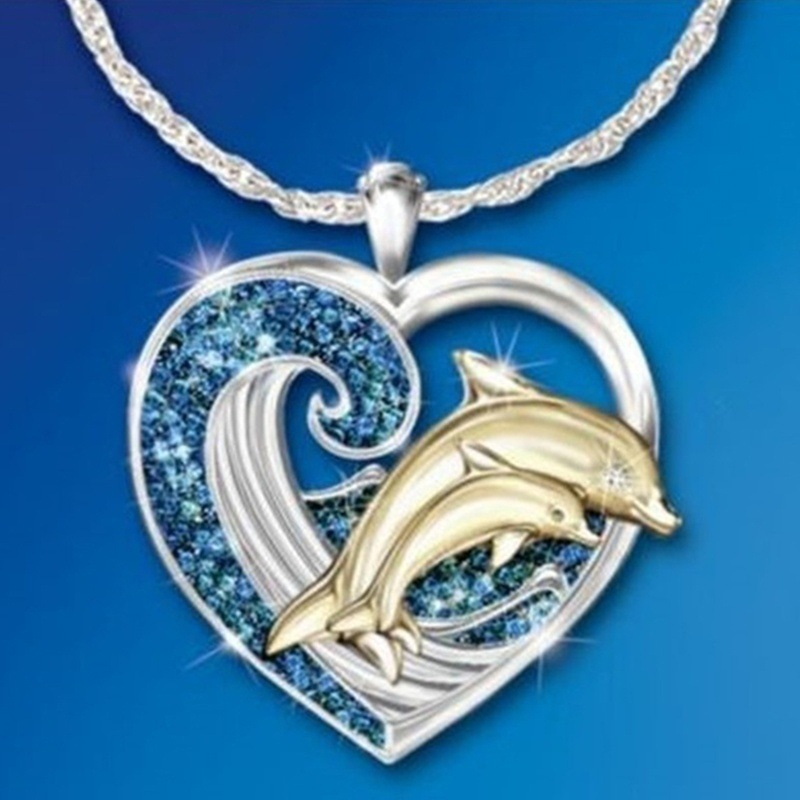 2020 New Fashion Love Dolphin Rhinestone Necklace For Women Cute Peach Heart Clavicle Chain Necklaces Female Charm Jewelry Gift