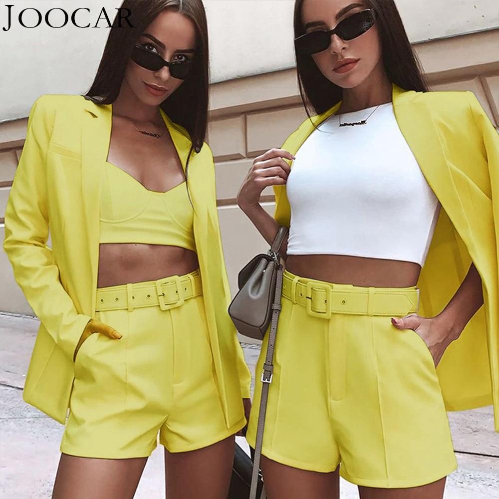 무료 배송 2020 joocar 여성 긴 소매 2 pcs 블레이저 및 반바지 숙녀 패션 벨트 세트 JC1363