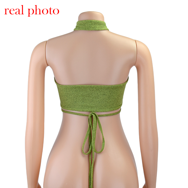 Green Sexy Bandage Halter Crop Tank Tops for Women Sleeveless Backless Club Party - tops-tees