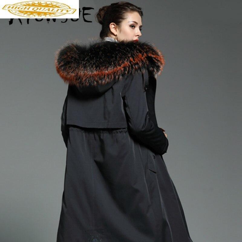 2019 New Real Fur Coat Women Rex Rabbit Fur Coat Winter Coat Women Raccoon Fur Collar Hooded Warm Parka DHM18JWS-2 YY1604
