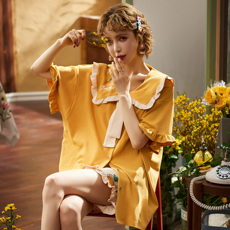 New Cute Cartoon Pajamas For Women Round Neck Nightgowns Spring Summer Casual Pyjamas Soft Cotton Lace Up Homewear 2 Pieces Sets