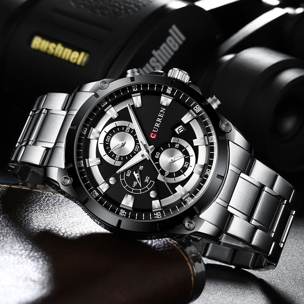 CURREN kreatywny Design zegarki mężczyźni luksusowy zegarek kwarcowy z chronograf ze stali nierdzewnej Sport zegarek męski zegar Relojes 5