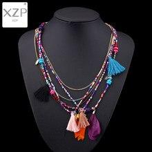 Xzp colar de penas boêmio feminino, multicolor, com borla, longa corrente étnica, colar para mulheres