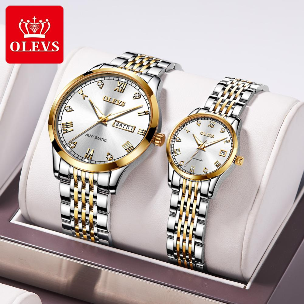 2020 Fashion Luxury Automatic Mechanical Couple Watch Diamond-set Roman Scale Relojes  Decoration Couples Watches