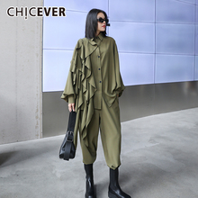 Shirt Leg-Pants Two-Piece-Set Long-Sleeve Ruffles Chicever-Patchwork Women for Lapel-Collar
