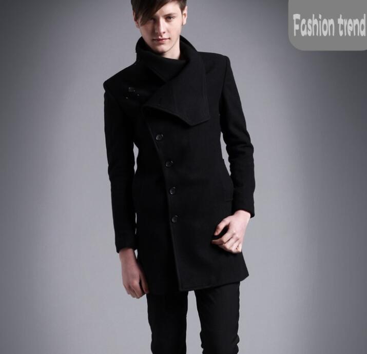 Medium-long woolen coat men single-breasted overcoat mens cashmere coat casual casaco masculino inverno erkek england black