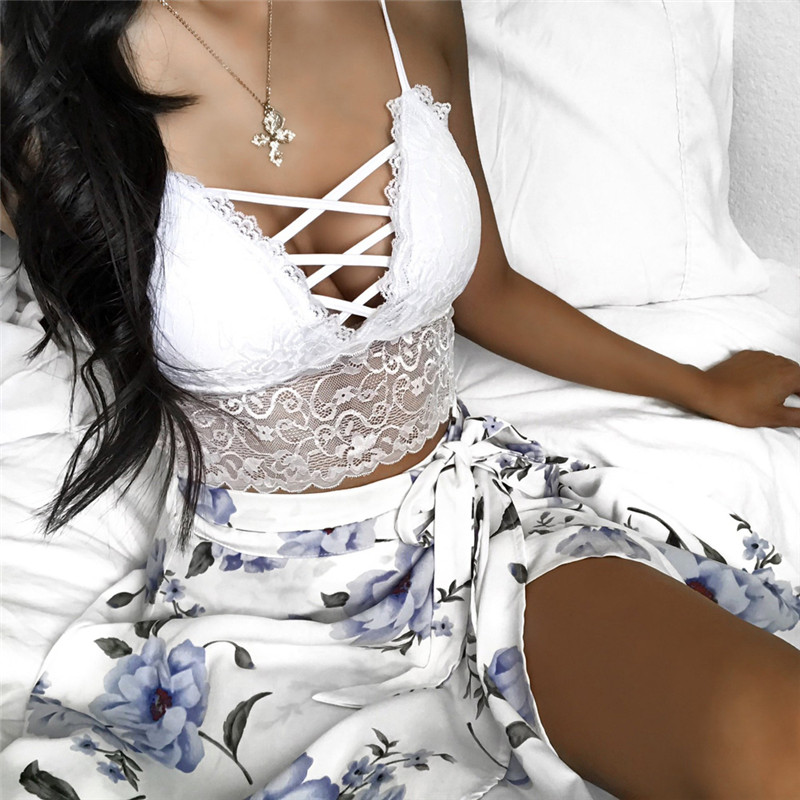 Sexy Fashion Women Lace Camis Tank Tops V Neck Crochet Casual Bralette Strapless Bandeau Bustier Crop Tops Punk Bra