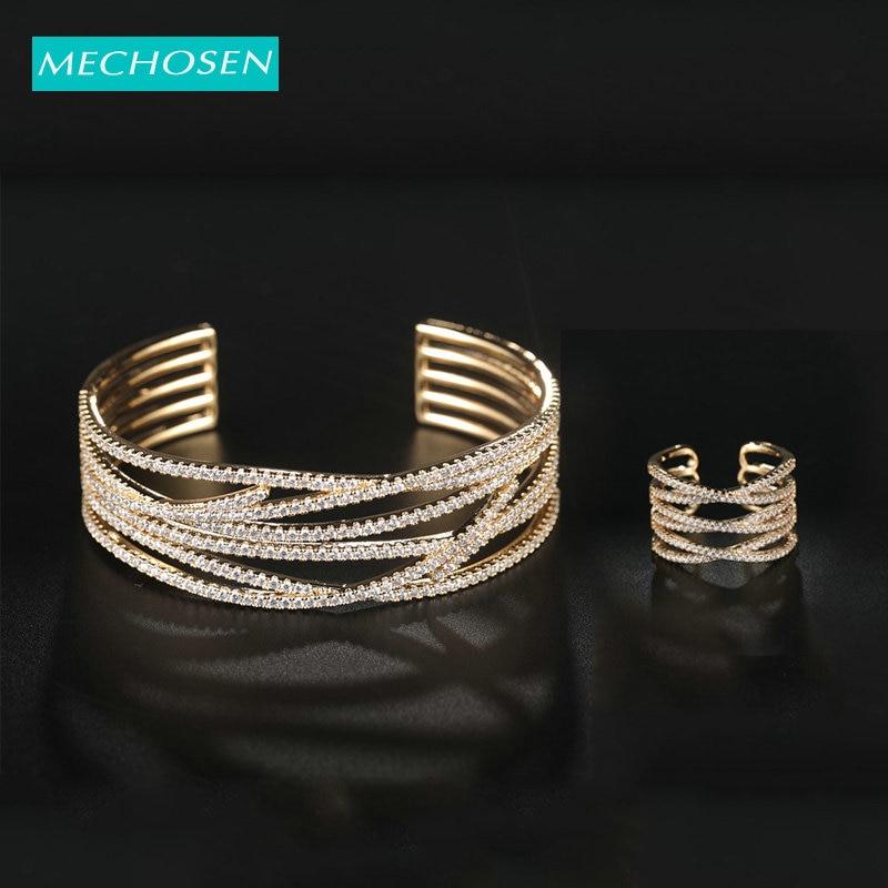 MECHOSEN Gold Fashion Zircon Plant Openwork Ring Bangle Jewelry Set For Women's Banquet Wedding African Bride Ornament Gift 2019