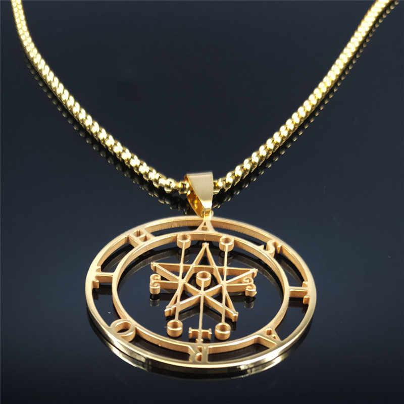 Astaroth Sigil Goetia złoty kolor naszyjnik ze stali nierdzewnej salomon Demon Seal szatan Sigil satanique patch broszka biżuteria ketting