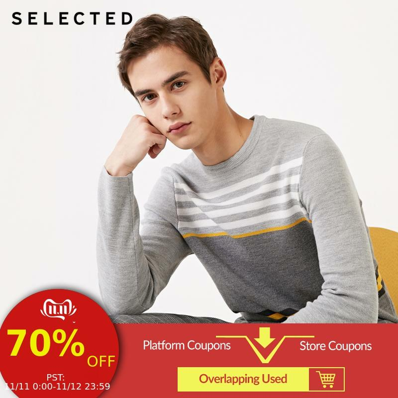 SELECTED Autumn Wool Striped Assorted Colors O-Neck Knit Sweater S|419124542