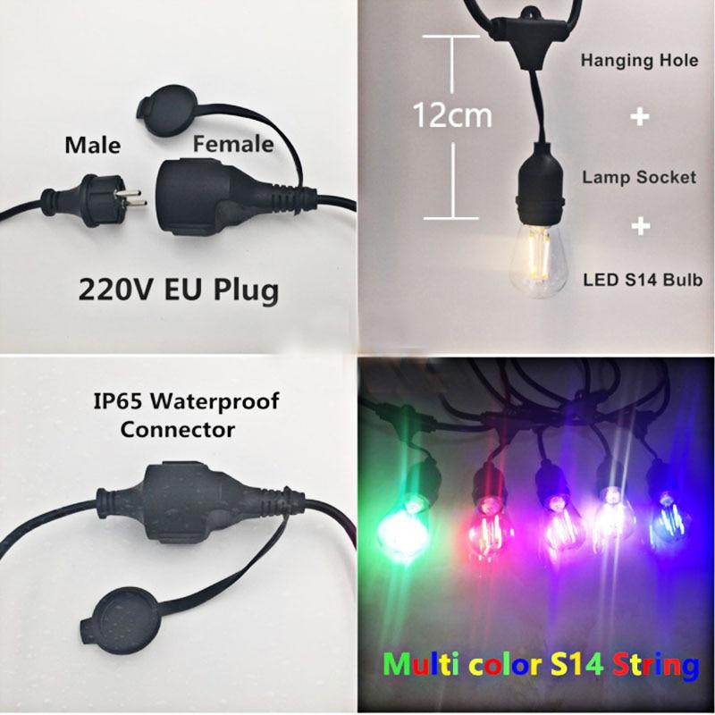 15M rgb 220V LED multicolores S14 chaîne lumières étanche IP65 LED chaîne extérieure jardin Patio vacances mariage décoration - 4
