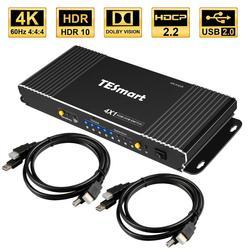 TESmart de alta calidad 4 Port USB KVM interruptor HDMI con USB 2,0 adicional Compatibilidad de puertos 4K * 2K (2160 3840 x) con 2 uds 5ft HDMI Cables KVM