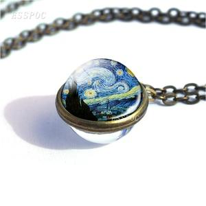 Художественное ожерелье с картиной звездной ночи, в стиле ретро, с двойным стеклянным шаром, бронзовое ожерелье из медного сплава, подарки для женщин