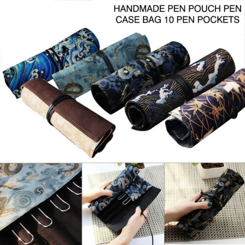 1Pc Handmade Pen Pouch Pen Case Bag 10 Pen Pockets For Penbbs Lamy Moonman Delike Stationery Office School Supplies