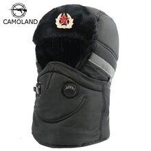 ฤดูหนาวหมวกผู้หญิงหมวกผ้าพันคอ Anti Haze รัสเซีย Ushanka ความร้อนหมวก Trapper Trooper Earflap สกีหิมะ balaclava
