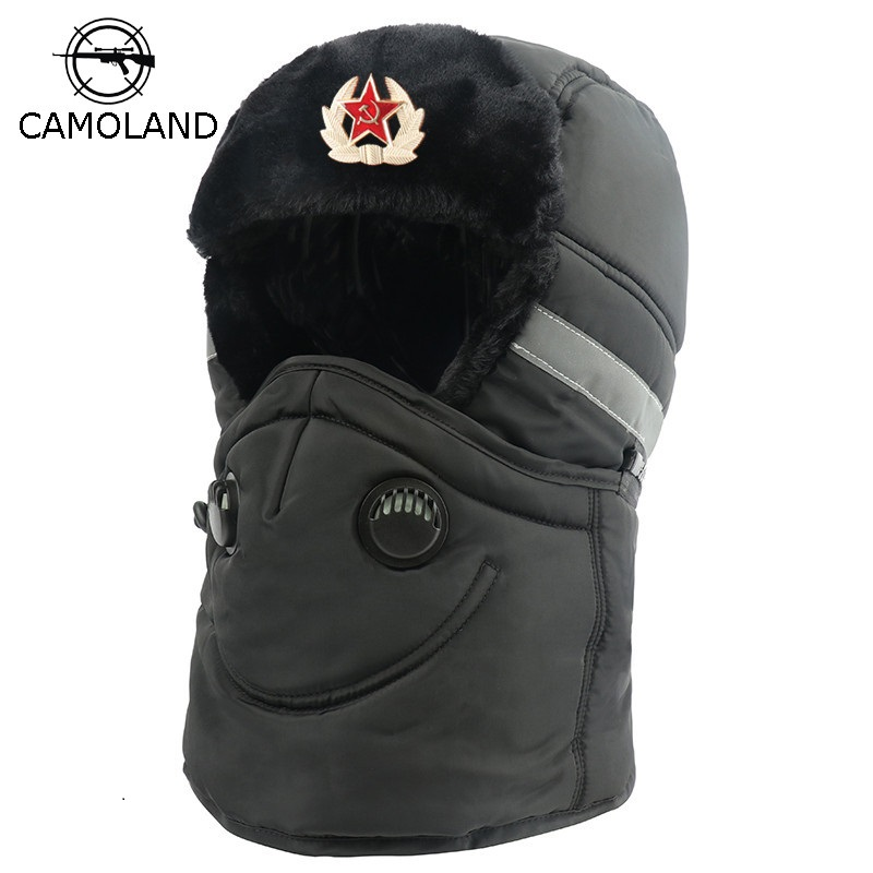 Winter Hat Men Women Bomber Hat With Scarf Anti-haze Mask Russian Ushanka Thermal Trapper Hat Trooper Earflap Snow Ski Balaclava