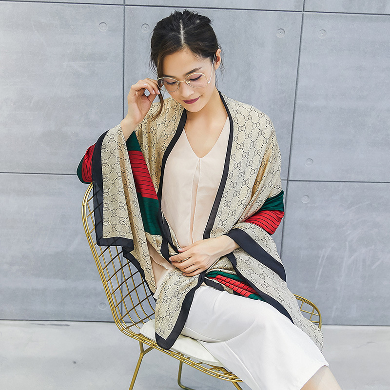 2019 New Style Spring And Autumn Silk Scarves Long Imitated Silk Fabric Scarf Shawl Sun-resistant Beach Towel Scarf Printed 2413