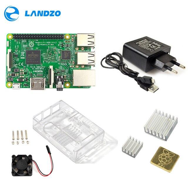 라즈베리 파이 3 모델 B 스타터 키트 파이 3 + 아크릴 케이스 + 2.5A 전원 공급 장치 + USB 케이블 + 팬 + 방열판 RPI 3