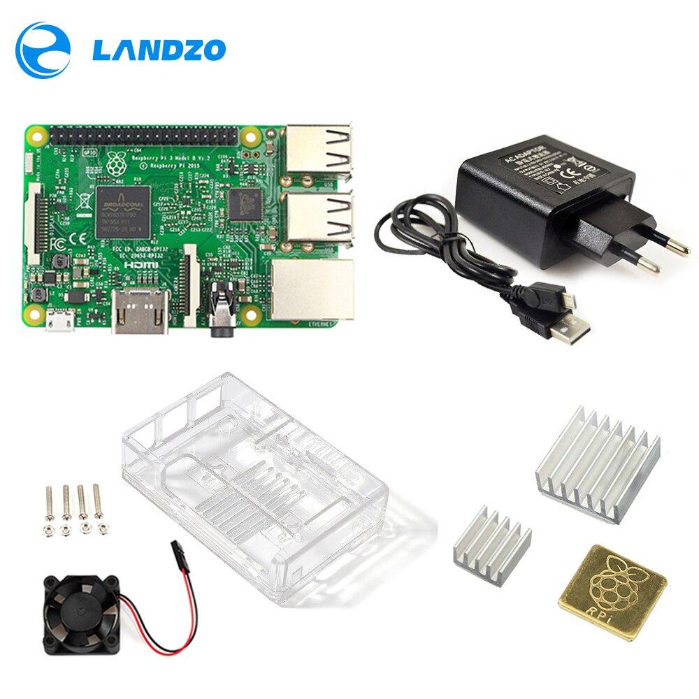 Framboise Pi 3 modèle B Kit de démarrage Pi 3 + boîtier acrylique + alimentation 2.5A + câble USB + ventilateur + dissipateur de chaleur RPI 3