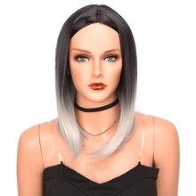 Серый синтетический парик омбре с темными корнями Короткие парики боб для женщин черный к серому винный Боб Омбре термостойкий парик