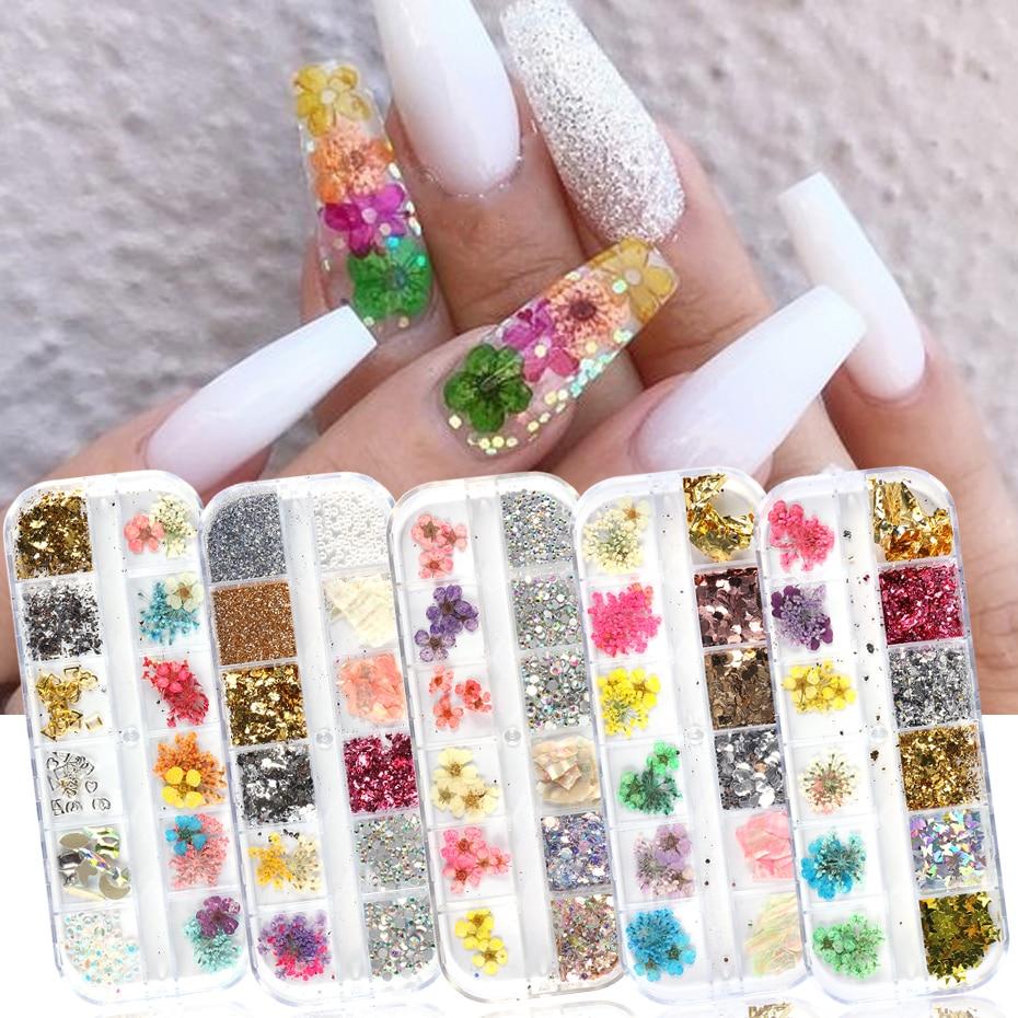 12 ячеек, сушеные цветы, лист для украшения ногтей, 3D натуральные Цветочные украшения, Бабочка, фольга, оболочка, блестки, Гель лак для маникюра, SA1616|Стразы и украшения|   | АлиЭкспресс