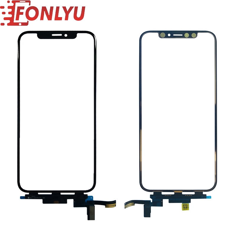 Front Glass With Touch Flex Cable For IPhone X XS XS Max /Short Flex LCD Touch Screen Panel External Cracked Glass Replacement