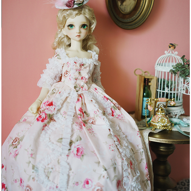 BJD pink dress doll long dress +hat + dress support + socks for 1/6 1/4 1/3 BJD Giant Baby doll accessories a suit BJD clothes