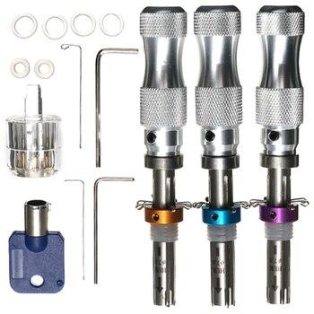 7 Pin Plum Lock Cylinder Transparent Tubular Lock Visible Pick Cutaway Practice View Padlock Training Skill For Locksmith