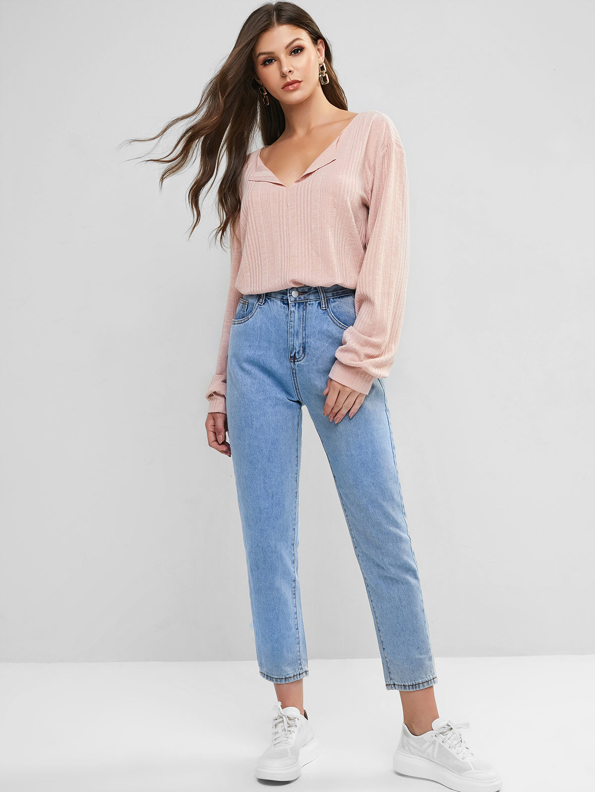 ZAFUL Lady Basic Straight Jeans Woman Casual Blue Loose Long Pants All-match Simple Elegant Daily Ladies 2019