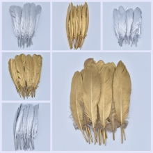 Gold Silver Goose Feathers Craft Duck Turkey Pheasant Feathers for Crafts DIY Feather Decor Home Decoration Accessories Plumas 10pcs lot natural ringneck pheasant tail feathers for crafts 25 75cm 10 30 wedding decorations pheasant feather plumes plumas