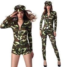 Mulheres sexy militar do exército da força aérea piloto voo camuflagem bodysuit traje fechamento frontal catsuit macacão uniforme para senhora
