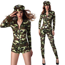 Women Sexy Army Military Air Force Pilot Flight Camouflage Bodysuit Costume Front Closure Catsuit Jumpsuit Uniform For Lady