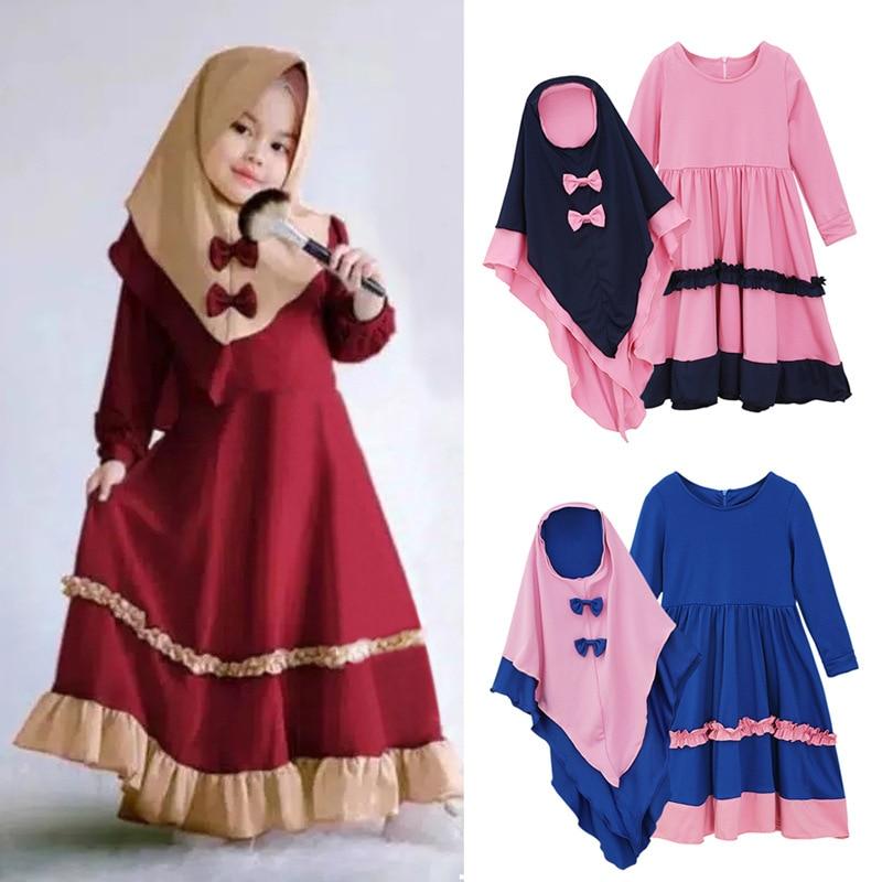 Aid Mubarak Girls Abayas For Kids Baby Ramadan Eid Abaya Turkey Hijab Muslim Dress Kaftan Dubai Caftan Islamic Clothing Vestidos