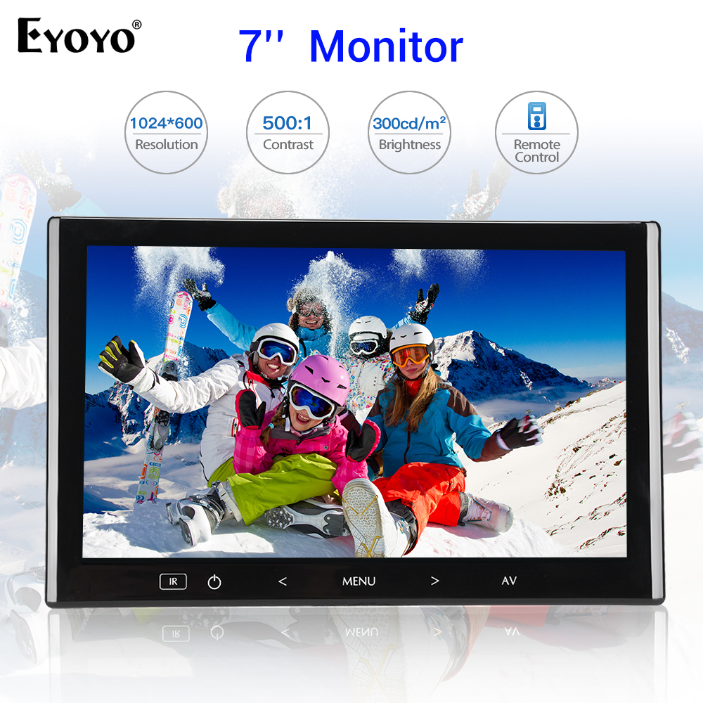 Eyoyo EM07K 7'' TFT LCD Monitor Color Car Reversing Rear View Security Display Screen With HDMI VGA AV For DVD VCD Backup Camera