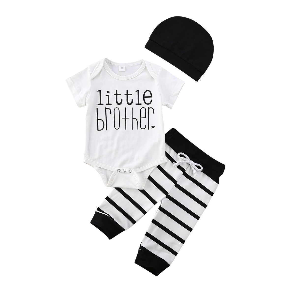 3PCS bebê menino recém-nascido Roupas De Algodão Tops Macacão Calça Legging Macacão Conjunto De Chapéu