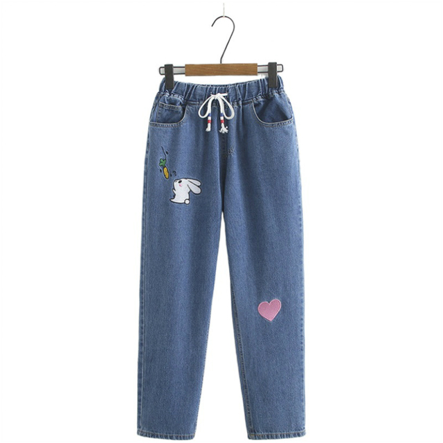 Cartoon Embroidery Jeans For Women Loose Sweet Style Straight Jeans Pants Mid Waist Cotton Jean Female Boyfriend Denim Trousers