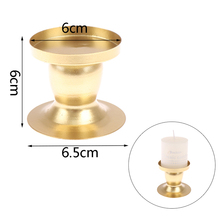 1pcs Gold Geometric Round Metal Candle Holder Home Decor Candlestick