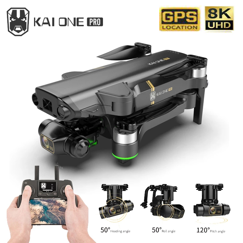 Best KAI ONE Pro Drone 8k HD Mechanical 3-Axis Gimbal Dual Camera 5G Wifi GPS Professional Brushless Motor RC Quadcopter