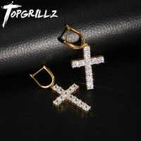TOPGRILLZ Micro Pavimentati Croce Pieno Bling Iced Out Orecchino Zircone Cubico Oro Argento di Fascino Orecchini con perno Per Gli Uomini Dei Monili di Hip Hop