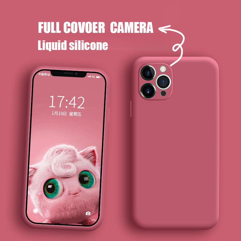 full cover camera liquid silicone phone case for iphone 11 pro max x xs xr 8 7 6 6s plus 5 5s se official quality cover(China)